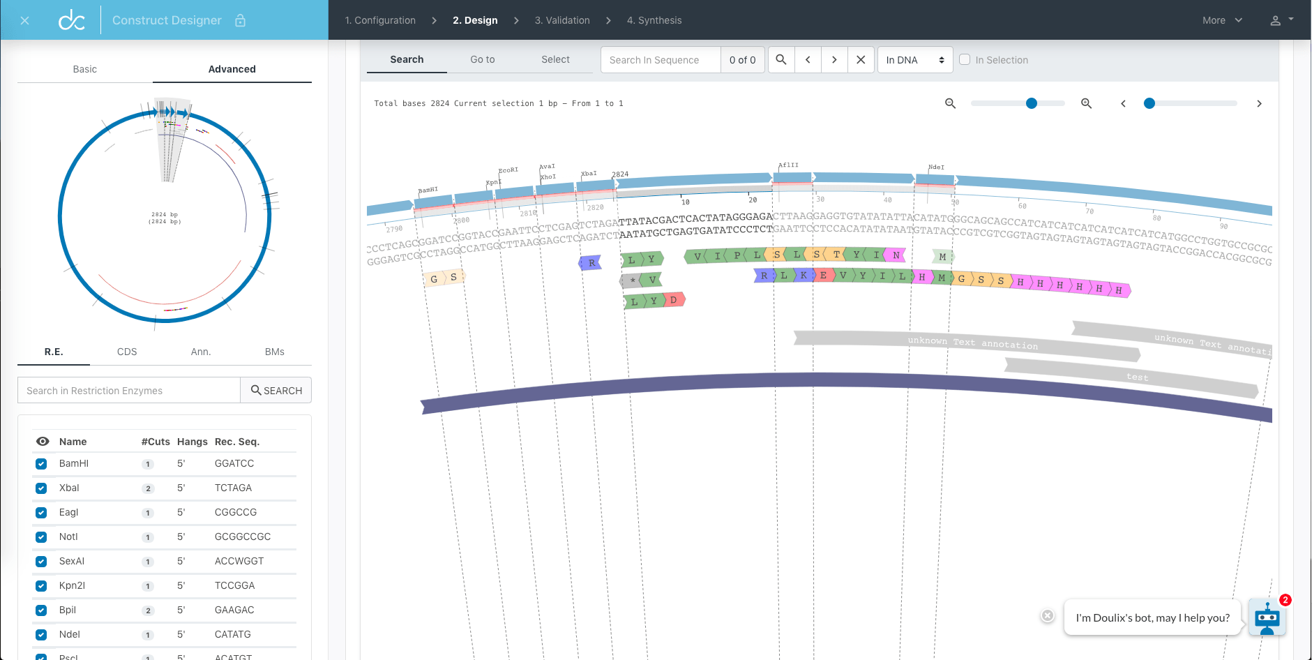 Doulix DNA design and sequence editor screen